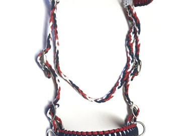 Bitless bridle, red white and blue bitless bridle, side pull hackamore, red white and blue bridle,horse gift for her, horse, horse lover