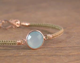 Gemstone Macrame Bracelet - 14k Rose Gold, Aqua Chalcedony, and Silk
