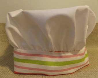 """Child's Chef's Hat in Crisp White Kona Fabric, Band is Approx. 24-1/2 Inches Long and Two-1/4"""" Wide with Stripes of Green, White and Pinks"""
