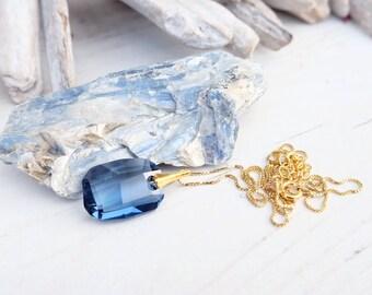 Navy blue pendant necklace, Wedding Swarovski necklace, Swarovski crystal pendant, Sterling Silver, Rectangular pendant, Bridesmaid gift