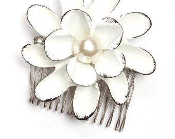 Handmade Hair Comb Black & White Large Vintage Enamel Flower Pearl Handcrafted Headpiece Head Piece Hair Piece Wedding 59