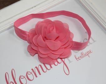 Coral Pink Chiffon Flower Headband