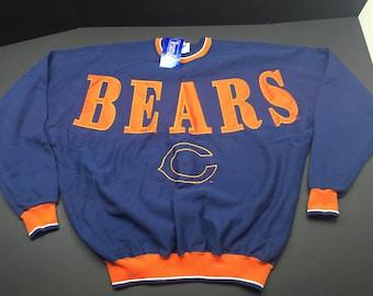 NWT Vintage 90s chicago bears crewneck sweatshirt mens XL fits 3XL nfl football spellout sewn patch