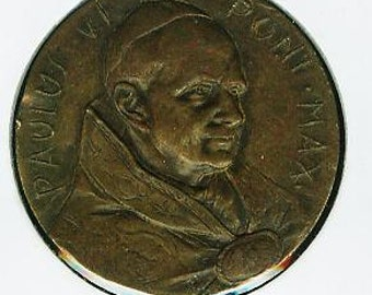 Vintage Handmade Pope Paul VI Bronze Hammered Medal 30mm.  Always Free Worldwide Registered Shipping