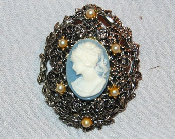 Cameo Brooch, Seed Pearls, Vintage old jewelry