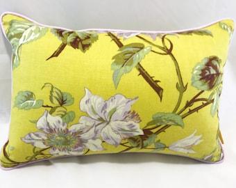 Stunning vibrant Sanderson linen floral print cushion