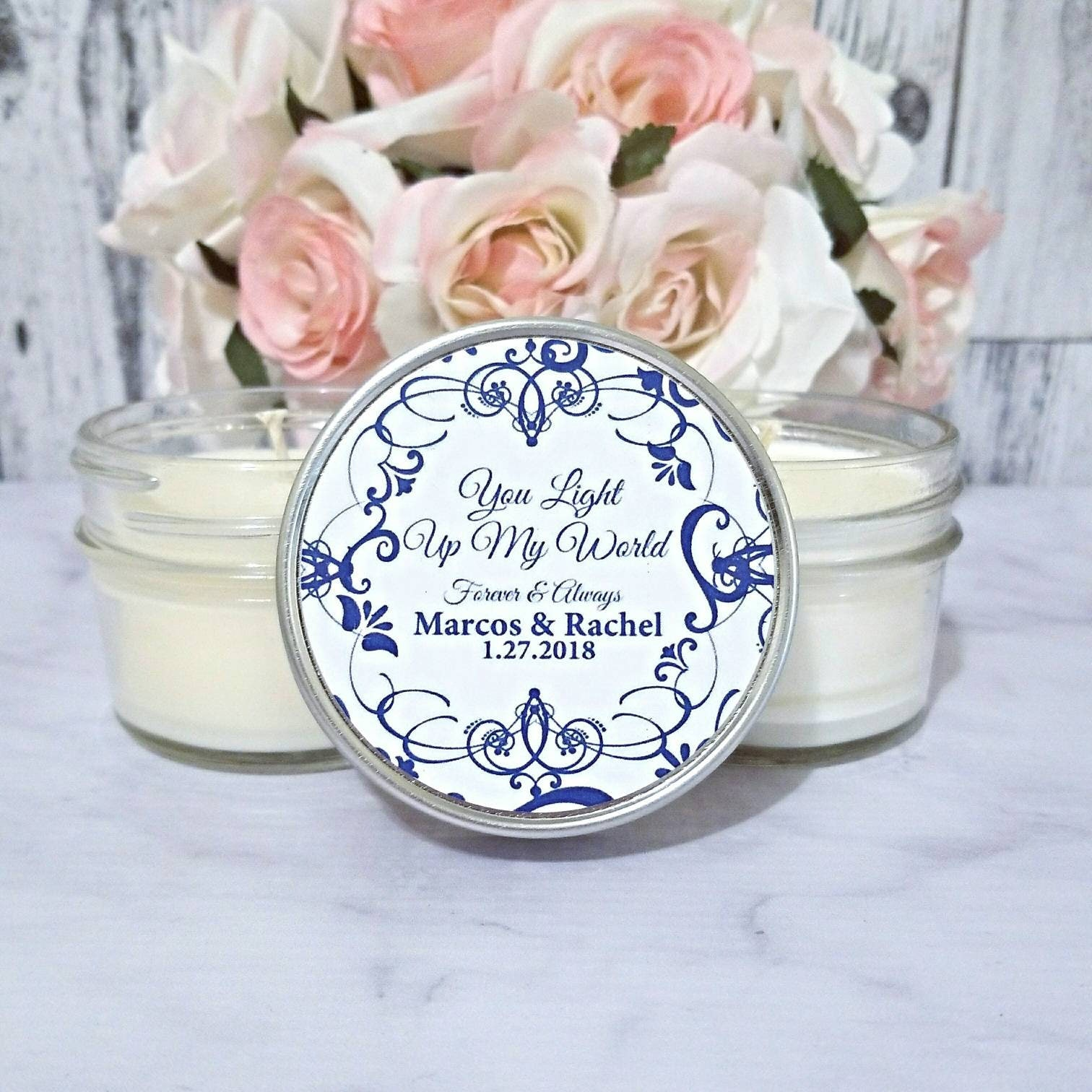 Navy Wedding Favors Candles Wedding Candle Favors Navy And White