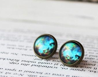 Blue Galaxy Earrings - Space Stud Earrings - Universe Earrings - Galaxy Stud Earrings - Space Post Earrings - Aqua Blue Stud Earrings