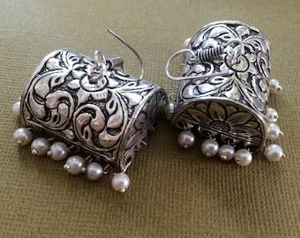 SILVER JHUMKA Earrings,PEARL Earrings,Ethnic temple jewelry,Silver tribal earrings,Indian Jewellery,handmade artisan Earrings by Taneesi