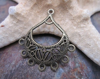 4 pc Vintage Look Antique Brass Tone Boho Gypsy Filigrees