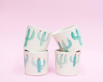 Penelope Flowering Cacti little planter or mug in porcelain