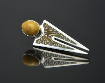 Silver cloisonne brooch- pendant with olive and violet colours and with baltic amber.