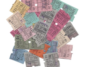 15 Vintage UNITED KINGDOM Used Bus Tickets - British TICKET Color Assorted Lot - Altered arts, mixed media, scrapbooking supplies