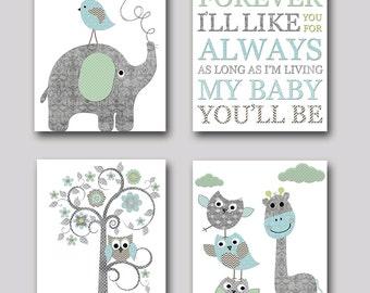 Nursery Print Kids Wall Art Kid Art Baby Room Decor Baby Nursery Decor Baby Boy Nursery Gray and Blue Elephant Nursery Giraffe set of 4