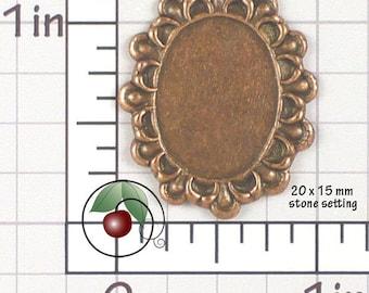 Lace Edge Setting, 20x15 Setting, 20 x 15 Setting, Copper Cabochon Setting, Cameo Setting, Copper Ox Plated Brass, 2 Pcs, 1433co2