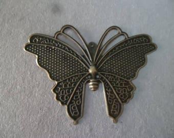 x 2 prints form big Butterfly color bronze 6, 9 x 5 cm