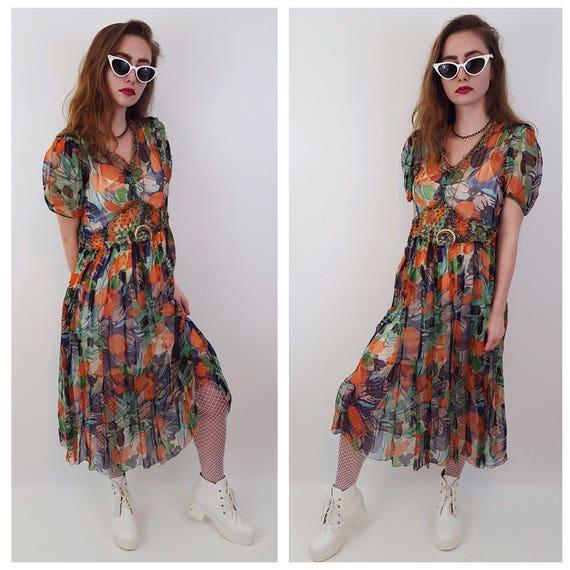 Vintage Style Sheer Floral Kitschy Retro Women's Dress - XSmall Small Rainbow Flower Pattern Midi Dress - VTG Sheer Spring Summer Midi