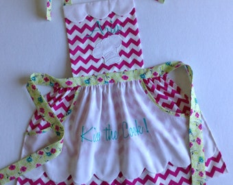 Toddler / Children Apron Personalized Handmade Hot Pink and  White Chevron Chef Hat Applique Pockets Scallops Three Coordinating Fabrics