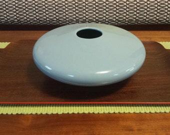 Haeger Pottery Vintage Vase Planter Round Spaceship Light Blue Oval Flying Saucer Shape