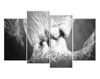 Kissing love abstract cool split canvas picture print