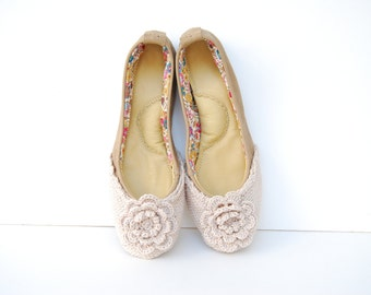 Handmade leather ballet flat woven wool shoes custom made