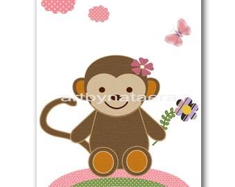 Monkey Nursery Decor Baby Nursery Art Baby Girl Wall Decor Baby Girl Nursery Baby Nursery Wall Art Children Wall Art Baby Nursery print