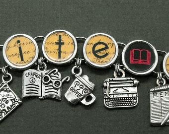 Write On Charm Bracelet Writers Authors Literary Jewelry Writer Gift