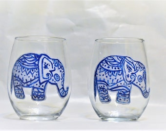 Handpainted Elephant Wine Glasses Stemless
