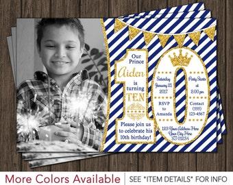 Prince Birthday Invitation   10th Birthday Invitations   Age 10 Only