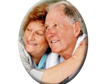 7cm x 9cm Oval Porcelain Photo Plaque for Grave Headstone