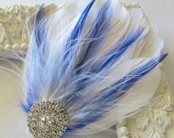 Bridal Wedding , Royal Blue, White Bridesmaid Feather Hair Accessory, Feather Fascinator, Bridal Hair Piece,Royal Blue White Hair Clip