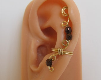 Gold Ear Cuff Wrap Non Pierced Bronze Beads
