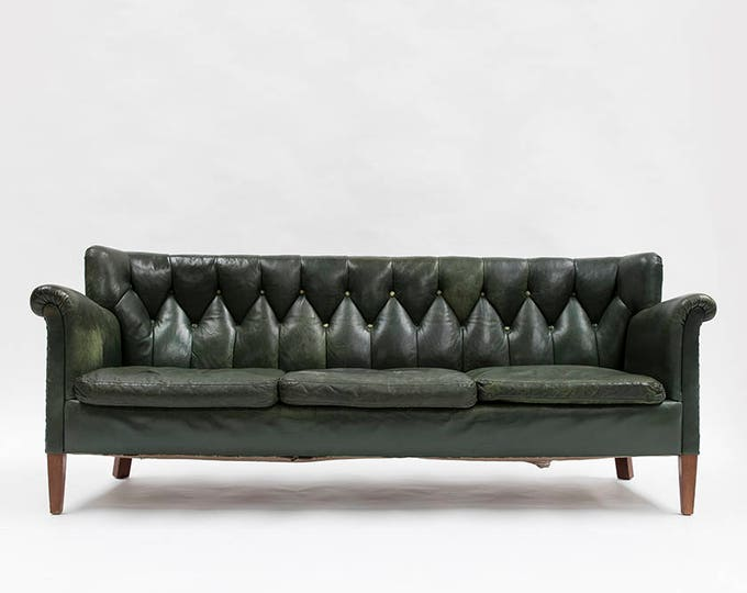 Danish Designed Tufted Back Green Leather Sofa