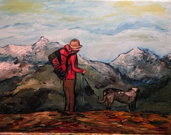 """His greatest gifts the commonest"""" 14x11"""" (Art, original,Dog,hiking,mountains,backpack,adventure,leash)"""