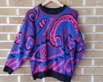 80s abstract, bubble gum colored sweater