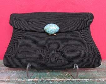 Vintage 1940's Corde Purse with Blue Glass Cabochon Clasp