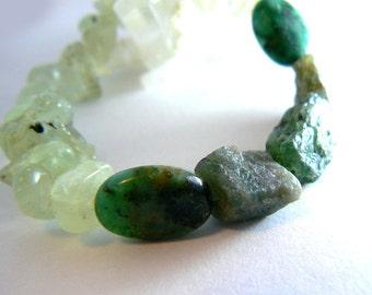 Chrysocolla gemstone stretch bracelet- Prehnite, raw apatite gemstone bracelet. Raw stones bracelet. Boho green women bracelet- Gift