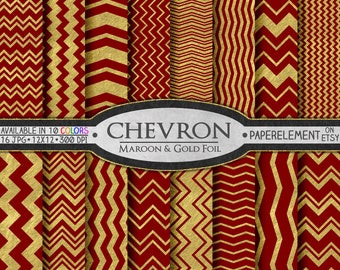 Maroon and Gold Printable Paper Pack - Chevron Digital Scrapbook Paper for Birthdays, Weddings and Anniversaries - Instant Download