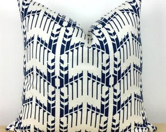 Frank Lloyd Wright Graphic White Pattern on Navy Blue - Price House Pattern - Schumacher - 1 SIDED OR 2 SIDED - Designer - Modern