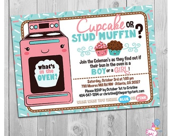 Gender Reveal Invitation Printable, Cupcake or Stud Muffin Invitation, Baby Reveal Invitations, Gender Reveal Party Invitations Printable