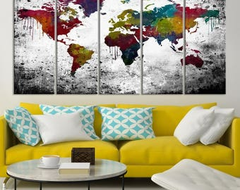Colourful world map etsy 5 piece extra large wall art watercolor world map canvas print colourful world map canvas print on white black background decorative art gumiabroncs Images