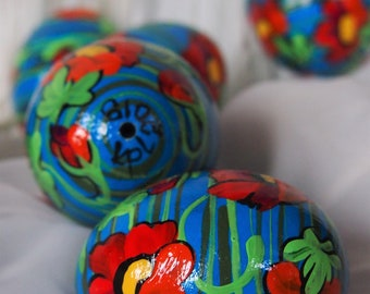 Easter eggs on shells of chicken eggs