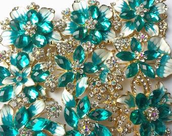9 pcs Rhinestone Wedding Pin Brooch, Blue, Wholesales Gold-Toned Plated, DIY Wedding Brooch Bouquet Lot Gift Embellishment