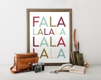 Christmas Printable Art, Christmas Subway Art, Falalalala, Deck the Halls, PDF JPEG