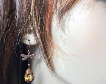 Dragonfly Earrings Copper Earrings Dangle Earrings Drop Earrings Briolette Earrings Dragonfly Jewelry Cute Earrings Dragonfly Jewelry