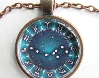 URSA MINOR Constellation Necklace -- Little Bear, Little Dipper stars, Zodiac signs, Stars for him or her, Astrology art