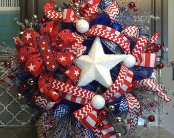Stunning 4th of July wreath,Memorial Day wreath, Red,white&Blue wreath