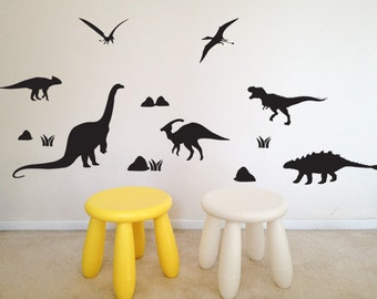 Dinosaurs silhouettes with rocks and grass wall decal, vinyl wall decor, children's playroom, bedroom, nursery, kids,removable stickers-051