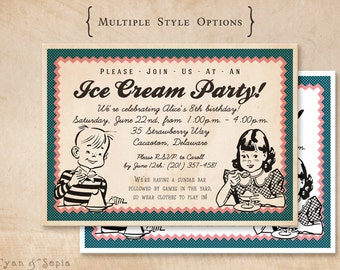 "Printable Birthday Invitation - 4.25 x 5.5"" or 5x7"" - Vintage Ice Cream - Teal Blue Peach Pink Cream White - Kids 1950s Kitsch Retro Summer"