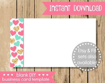 Blank DIY Business Card - Pink Gold Hearts - Do It Yourself Blank Business Card Template - Business Card - Valentines Day INSTANT DOWNLOAD